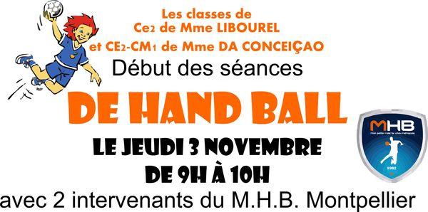 Séances de Hand Ball pour les classes de CE2 et CE2/CM1
