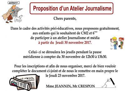 Atelier Journalisme pour les élèves de CM2 et de 6 ème