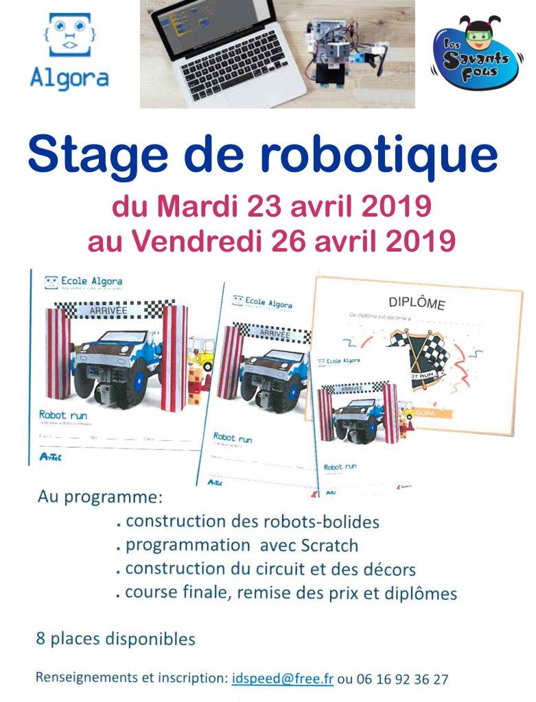 Stage robotique proposé pendant les vacances de Pâques